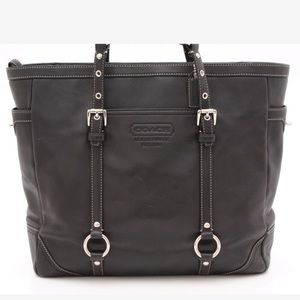 Classic Coach Gallery Black Leather Tote Bag
